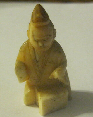 Vtg Japanese Tagua Nut Netsuke Detailed Carved Seated Man As Is