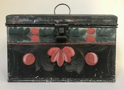 Antique NEW ENGLAND PAINTED TIN DOCUMENT BOX, c. 1830 - Connecticut Origin