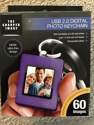"Sharper Image Ultra Slim 1.5"" Digital Photo Keychain, Purple Usb 2.0, New In Box"