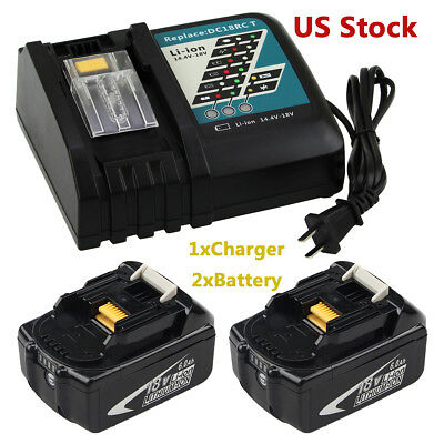 2xBL1860B Replace for Makita 18v Battery 6.0AH BL1830 BL1860 +1x DC18RC Charger