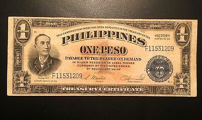 1944 US Philippines 1 Peso Note Victory Series 66 In USA ( 3+ notes = Free S/H )
