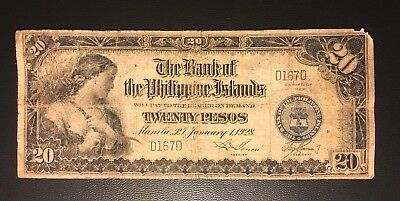 1920 Philippines 20 PesosLow D167D SS number. Only 40k ( 3+ notes = Free S/H )