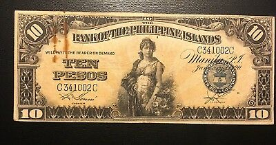1920 Philippines 10 Pesos Zero Rips or Pinholes ( 3+ notes = Free S/H )