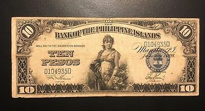 1928 Philippines 10 Pesos Zero Rips or Pinholes ( 3+ notes = Free S/H )