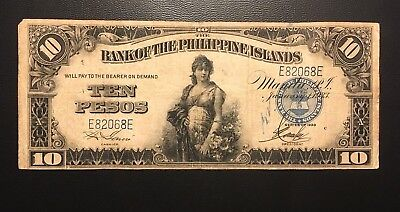 1933 Philippines 10 Pesos Zero Rips or Pinholes ( 3+ notes = Free S/H )