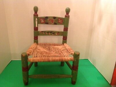 Handmade Vintage Childrens Chair Hand Painted Wood w Woven Rush Seat