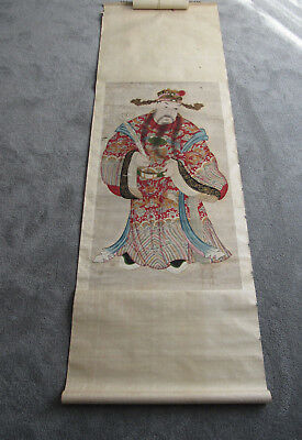 Very rare and unusual old Chinese painting of a deity on woven paper (SF57)