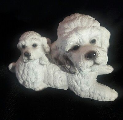 Vintage House Of Global Art Harvey Knox White Poodle Dog & Pup Figurine Japan