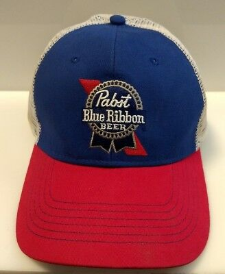 a58550d65 PABST BLUE RIBBON Beer PBR Mesh Trucker Hat Embroidered Mesh Snapback Ball  Cap