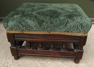 Antique Edwardian Small Oak-Framed Upholsted Footstool