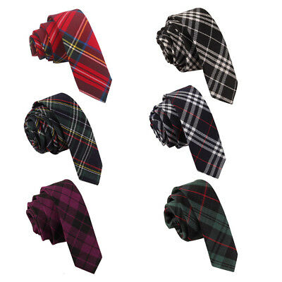 DQT Woven Tartan Plaid Formal Casual Necktie Wedding Skinny Men's Tie