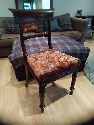 Antique William IV Desk Chair dining occasional cuban mahogany upholstered seat