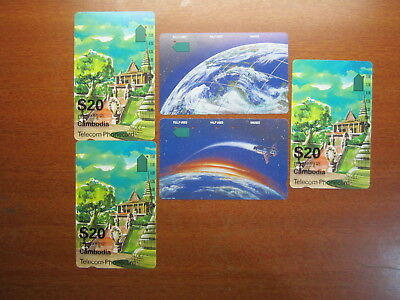 Phonecards Rare Telstra & Telecom $2 $5 & $20 used Cambodia phonecard