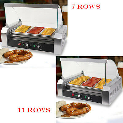 Hot Dog 7 & 11 Roller Grill Cooker Commercial Sausage Machine  W/ Cover