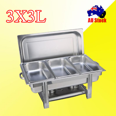 9L Bain Marie Bow Chafing Dish 3Lx3 Stainless Steel Food Buffet Warmer Pans Tray