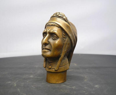 Asian Chinese Old Bronze Hand Carved Indian Statue Walking Stick Head