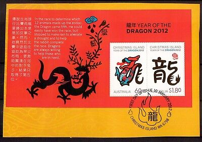 M1271sbs 2012 Christmas Island Year of Dragon VFU Mini sheet on piece