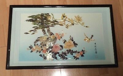 Vintage Large Chinese Shell Picture - 29 1/2 X 18 Inches
