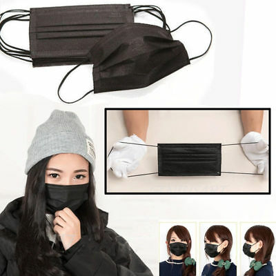 5/10/30x Disposable Bacterial Filter Anti-Dust Surgical Face Mouth Mask Black