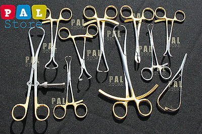 Orthopedic Bone Holding Forceps 10 Pieces Set Surgical Instruments Gold plated