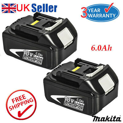 2x 6.0AH 18V Battery For Makita BL1840 BL1860 BL1815 LXT Lithium Ion Cordless UK