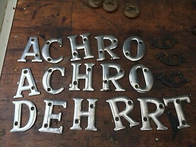 Vintage Various Metal Letters Drawer Labels Chrome Plated Industrial Display