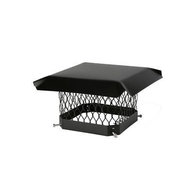 18 x 18 in. Mesh Chimney Cap Black Galvanized Steel Cover Square Top Mount Roof