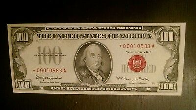 1966 $100 Red Seal Star Note *low serial # CHOICE ABOUT UNCIRCULATED