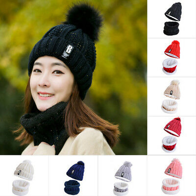 e44daf45a3c4fa Womens Winter Beanie Hair Ball Cap + Scarf Set Fleece Lined Knit Warm Ski  Hat