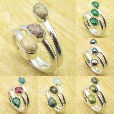 925 Silver Plated PINK THULITE, PICTURE JASPER & Other Gemstone Ring Size Choose