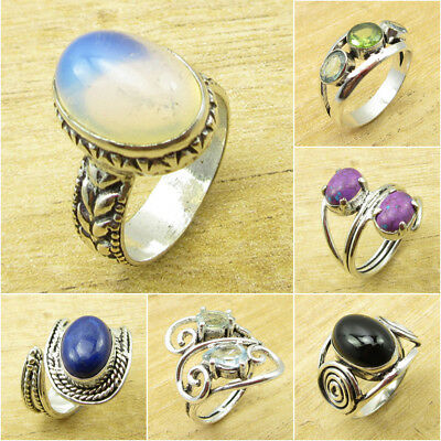 Mixed Style, Mixed Stone ! 925 Silver Plated AUSTRALIAN OPAL & Other Gem Ring