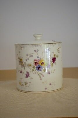 Antique BISCUIT JAR Hand Painted Floral Design
