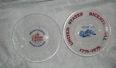 Indiana Glass Clear Painted Fair Promo Plates Bryant & Portland Indiana  8""