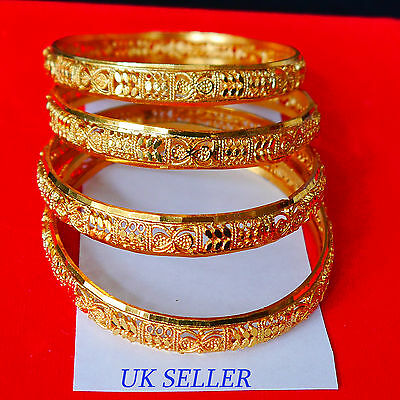 22K Gold Plated 4Pc Bracelet Bangle Indian Women Ethnic Traditional Jewelry 2*6