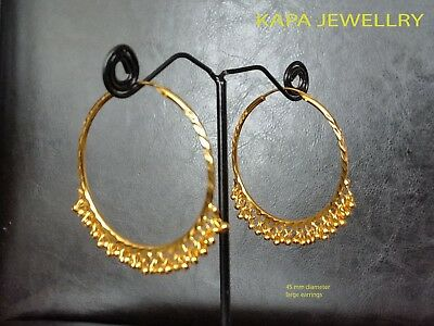 22k Gold Hoop Sleeper Earrings Gold plated Indian Bollywood Jewelry E4