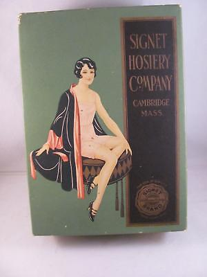 Antique Advertising Box Signet Hosiery Company Cambrudge MA Lingerie Super Clean