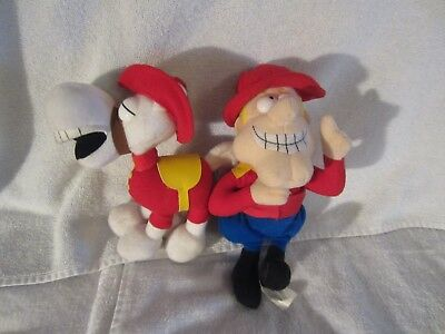 Rocky And Bullwinkle Dudley Do-Right And Horse Stuffed Figures