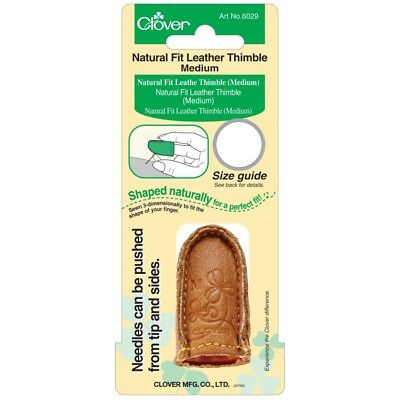 Clover Medium Natural Fit Leather Thimble - Sizes