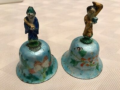 2 Antique Chinese Immortal Figure Enamel Over Silver Bells Buddha 19th Century