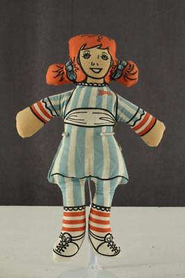 """Vintage 1979 WENDY'S Fast Food Premium Fabric Print WENDY Doll Toy 11"""" Tall"""
