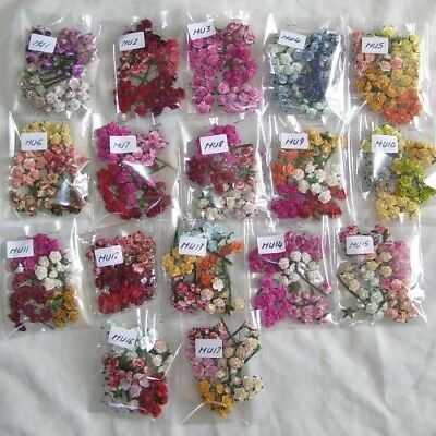 50 Mixed Coloured Mulberry Paper Flowers 15Mm (Lots Of Colours To Choose)