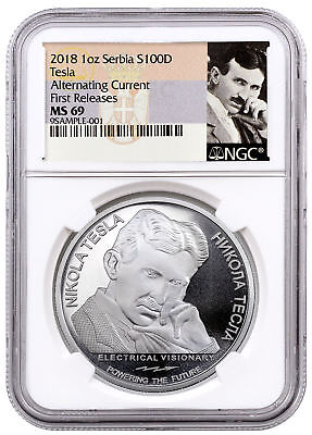 2018 Serbia Nikola Tesla Alternating Current 1 oz Silver NGC MS69 FR SKU55105