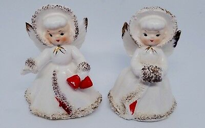 Vintage Christmas Spaghetti Angel Candle Holders Set of 2 Porcelain Japan Rare