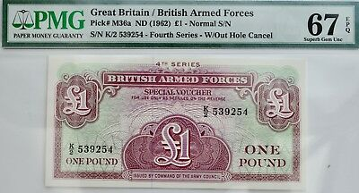 BRITISH MILITARY ARMED FORCES £1 NOTE VOUCHER PMG 67 GEM Pound Uncirculated 1962