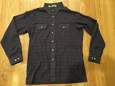 SUPER THIN Vtg 1979 Mens LEVIS WILDFIRE PLAID Flannel SHIRT SIZE XL Hipster Emo