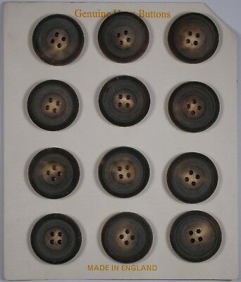 card of 12 26mm genuine vintage round real horn buttons   4 four hole   medium