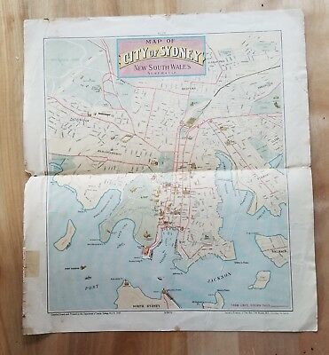 1908 Map of City of Sydney New South Wales Australia about 11 x 12 Dept of Lands
