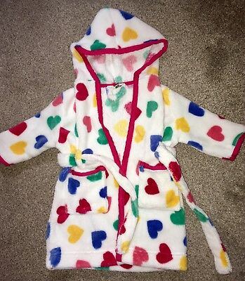 John Lewis Baby Girl Heart Dressing Gown Robe 6-9 Months