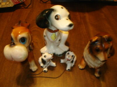 Used Clean 5 Old Ceramic Dogs