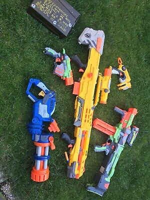 nerf gun job lot with metal box that has lots of bullets in